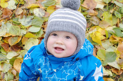 Smiling baby boy in autumn Stock Images