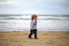 Smiling baby boy on beach Royalty Free Stock Images