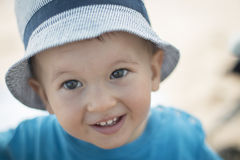 Smiling baby boy with hat Royalty Free Stock Image
