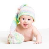 Smiling baby boy infant in funny hat. Portrait of smiling baby in funny hat isolated Stock Photography