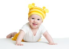 Smiling baby boy weared funny hat Stock Photos