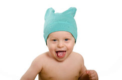 Smiling baby in cap Stock Photo