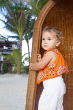 Smiling baby child on tropical sand beach Royalty Free Stock Images
