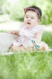 A smiling baby. A Chinese baby is smiling on grass Stock Photography