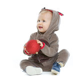 Smiling baby with Christmas ball Royalty Free Stock Image