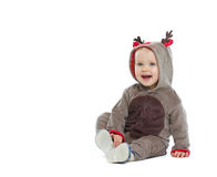 Smiling baby in Christmas costume Stock Photography