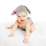 Smiling baby in costume bunny or lamb Royalty Free Stock Photos