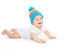 smiling baby crawls in hat Royalty Free Stock Photos