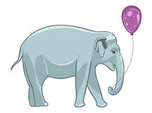 Smiling baby elephant with purple balloon Royalty Free Stock Photos