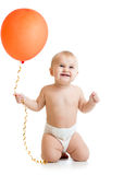 Smiling baby girl with ballon isolated on white Royalty Free Stock Photo