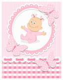 Smiling baby girl. In pink frame. Editable vector illustration Royalty Free Stock Images