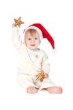 Smiling baby girl in Santa Royalty Free Stock Photo