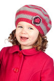 Smiling baby girl with wool cap Stock Photo