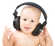 Smiling baby with headphone Royalty Free Stock Photo