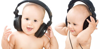 Smiling baby with headphone Royalty Free Stock Images