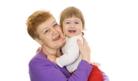 Smiling baby with her grandma isolated Stock Photography