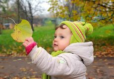 Smiling baby holding hand leaf royalty free stock photos