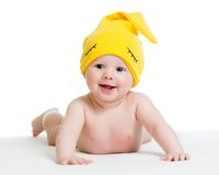 Smiling baby infant in funny hat Royalty Free Stock Photography
