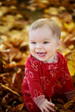 Smiling Baby kid in yellow leaves Stock Images