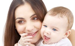 Smiling baby in mother hands #2 Royalty Free Stock Photography