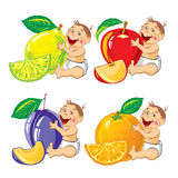 Smiling baby with a orange, lemon, plum and apple Stock Images