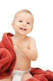 Smiling baby in towel Stock Photography