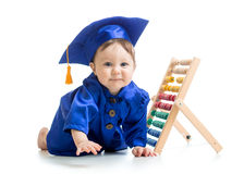 Smiling baby weared academical clothes with abacus Stock Images