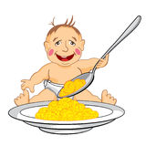 Smiling baby which eats with a spoon porridge. Drawing cartoon smiling baby which eats with a spoon porridge from dish Stock Image