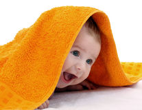 Smiling baby wrapped Royalty Free Stock Image