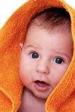 Smiling baby wrapped stock images