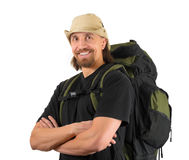 Smiling backpacker Stock Images