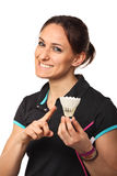 Smiling badminton player stock image