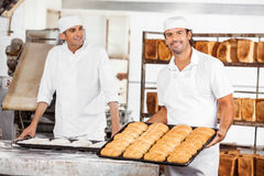 Smiling Baker Showing Breads In Baking Tray By Colleague Royalty Free Stock Photos