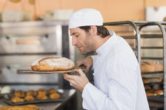 Smiling baker smelling fresh bread Royalty Free Stock Images