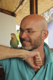 Smiling bald man with a beard with a parrot Royalty Free Stock Photos
