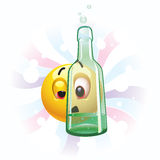 Smiling ball. Drunk smiling ball seeing trough bottle Royalty Free Stock Photography