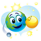 Smiling ball. Taking care about Earth smiley Stock Photo