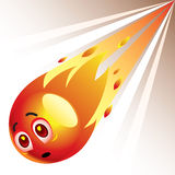 Smiling ball. Falling down as comet Royalty Free Stock Image