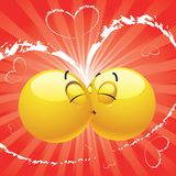 Smiling ball kissing. Another who is surprised Stock Images