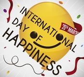 Smiling Balloon in a Party for International Day of Happiness, Vector Illustration. Happy yellow balloon with ribbon remembering at you the date to celebrate vector illustration
