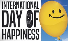 Smiling Balloon Ready to Celebrate International Day of Happiness, Vector Illustration. Banner with a yellow smiling balloon in a sky view promoting vector illustration