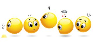 Smiling balls. Waiting in a row Stock Images