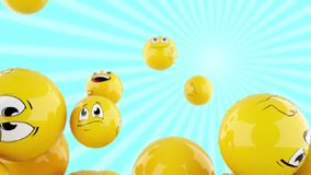 Smiling balls falling down stock footage