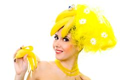 Smiling Banana lady Stock Images