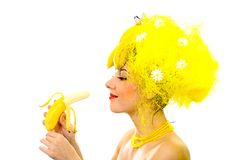 Smiling Banana lady Royalty Free Stock Photo