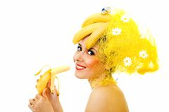 Smiling Banana lady Stock Photo