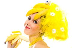 Smiling Banana lady Royalty Free Stock Image
