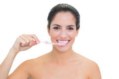 Smiling bare brunette using toothbrush Royalty Free Stock Image