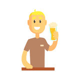 Smiling bartender man character standing at the bar counter holding glass of beer. Illustration on a white background Royalty Free Stock Photography