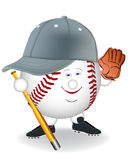 Smiling in a baseball. Cap with mitt bat on a white background Royalty Free Stock Image